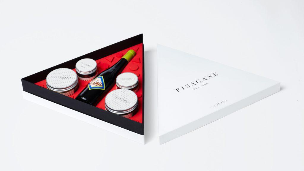 scatola triangolare per vino e pasticceria P.Brunelli